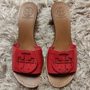 Tory Burch Patent Leather Logo Mules
